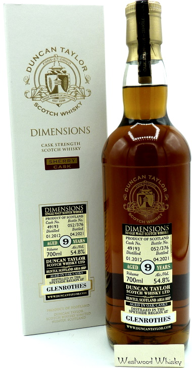 Glenrothes 9 Jahre Duncan Taylor Abfüllung 2012/2021 Dimensions